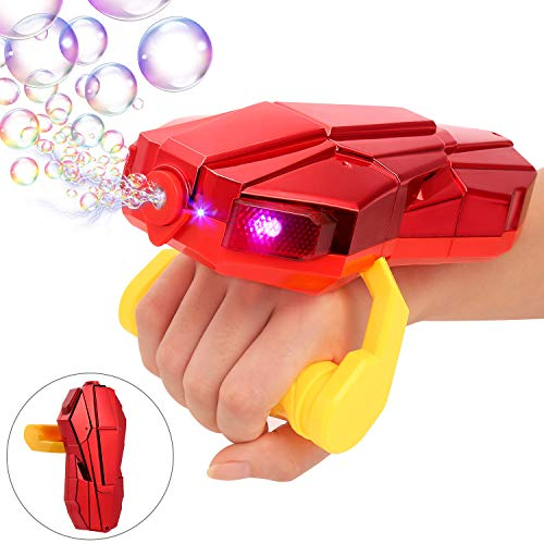 Auney Handheld Bubble Machine with Light, Automatic LED Bubble Blower Bubble Maker 2000+ Per Minute Bubble Machine for Kids, Red Bubble Toy with Sound for 1 2 3 4 5 Year Old Kids
