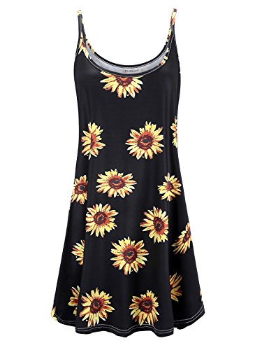 7th Element Women's Plus Size Spaghetti Strap Tank Cami Floral Dress (Black Sun Flower,5X)