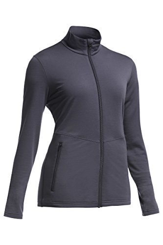 - Icebreaker Women's Victory Long Sleeve Zip Sweater, Medium, Panther/Panther