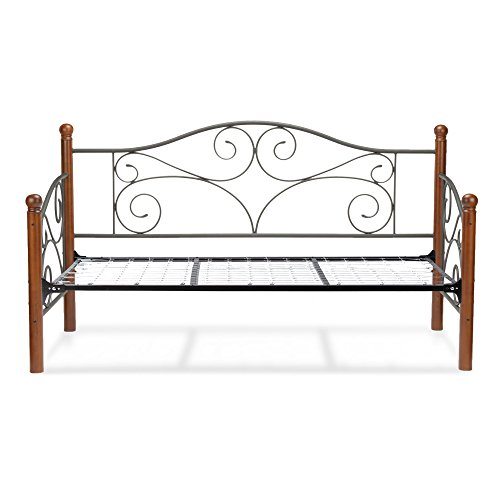 (Doral Complete Metal Daybed with Scrolled Spindle Panels and Link Spring, Matte Black Finish, Twin)