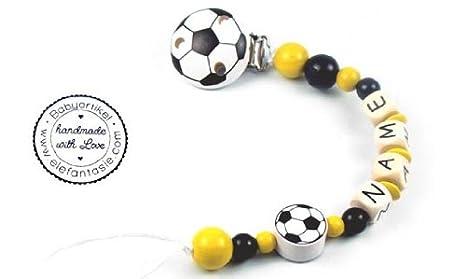 PREMIUM Schnullerkette mit Namen Modell Fu/ßball gelb schwarz