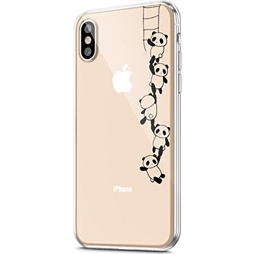 - ikasus Case for iPhone X/iPhone Xs Case,Crystal Clear Art Panited Pattern Design Soft & Flexible TPU Ultra-Thin Transparent Flexible Soft Rubber Gel TPU Protective Case Cover,Panda string
