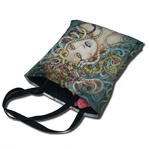 Kindle Medusa Halloween Printing Canvas Bag Unique Reusable Fancy Durable Canvas Plain Tote Bags In Bulk Tote Carrying Travel Bag, Shopping Bag Foldaway