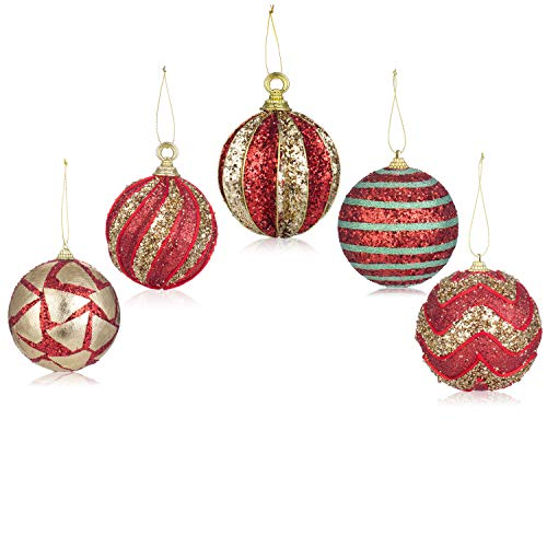 Santa's Gems Christmas Decorations Tree Ornaments Set Red and Gold in Keepsake Box