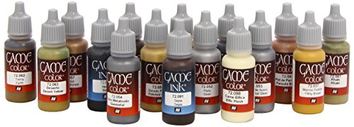 Vallejo 72291 - Leather and Metal Acrylic Paint Set -16 x Assorted 17millimeter Colour