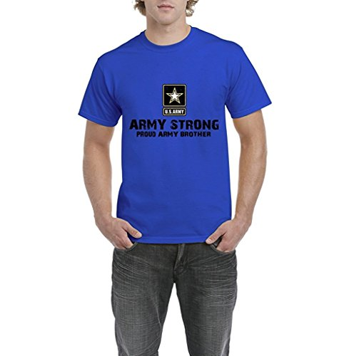 Artix U.S. Army Star Army Strong Proud Army Brother Mens T-shirt Tee Large Royal Blue