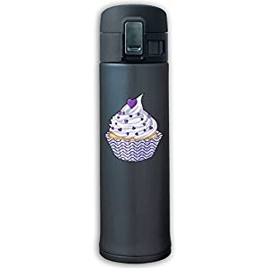 Purple Cup Cake Personalized Vacuum Cup Stainless Steel Travel Mugs Bouncing Thermos Cup Vacuum Water Bottle Navy