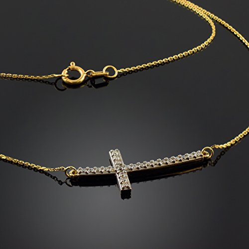 14k Yellow Gold Sideways Cross Catholic Necklace with Curved Horizontal White CZ Pendant