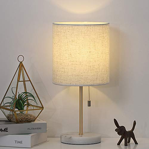 Table Lamp, Nightstand Gold Desk Lamp, Modern White Marble Base Lamp with Linen Shade for Bedside Bedroom Dressers College Dorm Bookcase (Lamp Bases Marble)