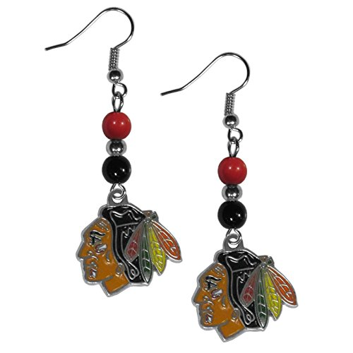 (NHL Chicago Blackhawks Fan Bead Dangle Earrings)