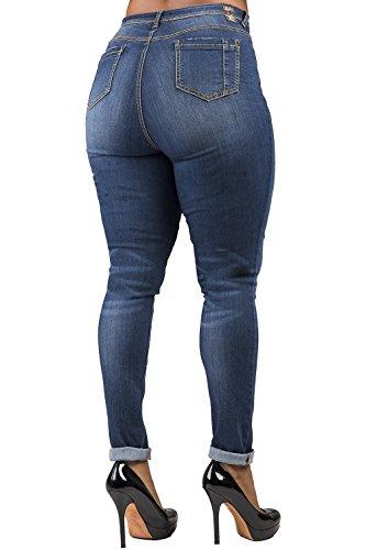 Poetic Justice Women's Extra Curvy Fit Medium Vintage Stretch Denim Skinny Jeans Size 32 x 32Length Blue