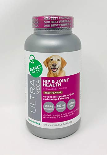 GNC Pets Big Bottle Ultra Mega Hip and Joint Health Chewable Tablets Beef Flavor Senior Dogs Advanced Support for Joint Cushioning and Mobility 120 Chewable Tablets (Dog 120 Tablets)