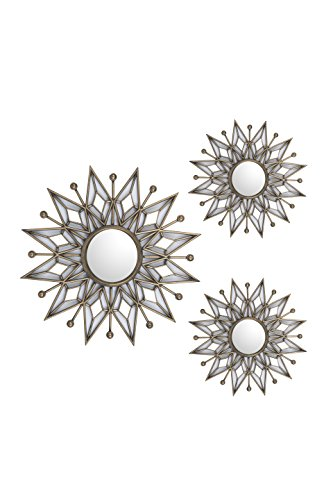 All American Collection New Separated 3 Piece Decorative Mirror Set, Wall Accent Display (Golden Star)