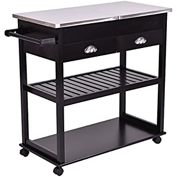 Giantex Rolling Kitchen Trolley Cart Stainless Steel Flip Top W Drawers Casters