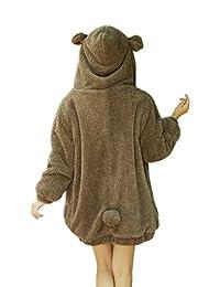 YMING Women's Warm Hoodies Winter Loose Fluffy Bear Ears Jacket Outerwear Coat