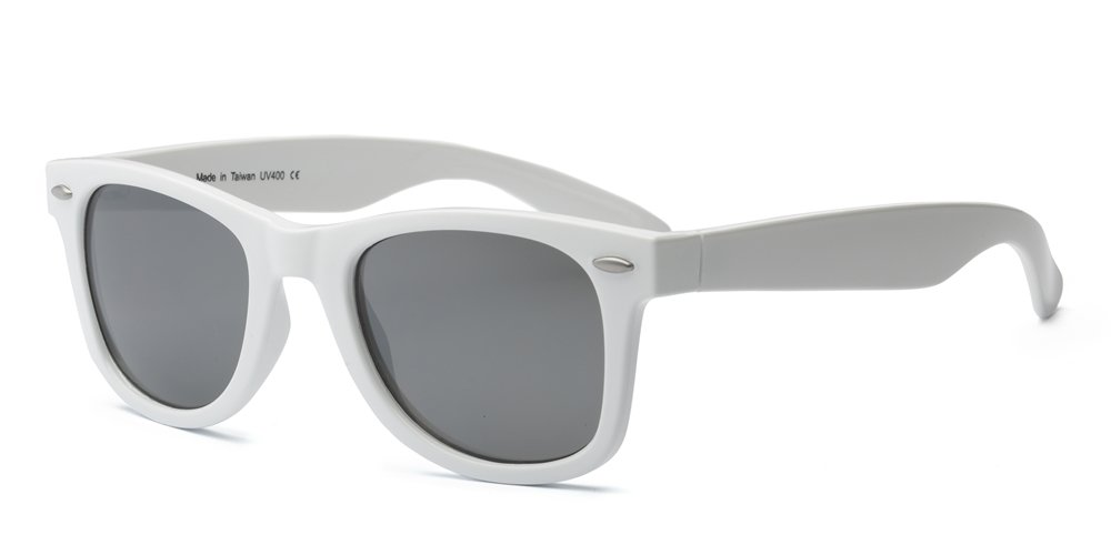 Real Shades Swag Sunglasses for Adults - 100% UVA UVB Protection, Polycarbonate Mirror Lenses, Unbreakable, Iconic 80s Style (White, Silver Mirror Lens)