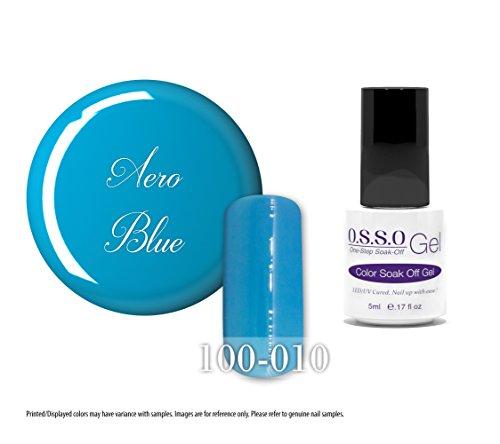 O.S.S.O Gel Polish Color One-Step Soak-off LED UV Cured No Base or Top Coat Need (Aero Blue) (5ml) (Aero Ss)