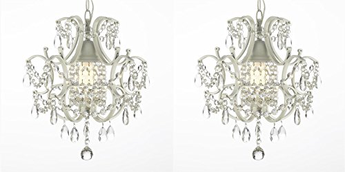 Beautiful ELegant Set Of 2 Mini Crystal Chandelier 1 Light, Looks Luxury In Any Dining Room Or Living Room (Burlington Dining Set)