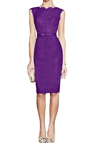 Ivydressing Linie Partykleid Abendkleid Festkleid Spitze Violett Modisch Promkleid Etui Rundkragen Guertel Damen 0wqYUx0r