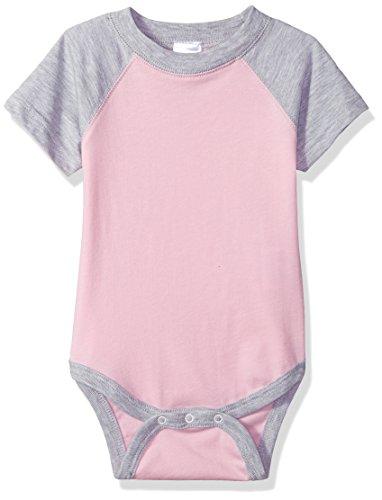 Clementine Baby Infant Baseball Fine Jersey Bodysuit Onesie, Pink/VIN HTHR, 6MOS