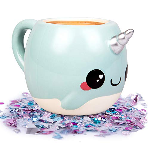 Narwhal, Unicorn of the Sea Coffee Mug - 18 oz Glitter Galaxy - Nizzle the Narwhal (Оne Расk) - Fun Coffee Mugs