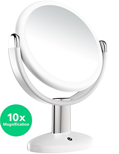 Vremi 10x Magnified Vanity Mirror - 7 Inch Round Makeup Cosmetic Mirror for Bathroom or Bedroom Table Top - Portable Double Sided Glass Mirror Stand with 360 Degree Swivel - White -