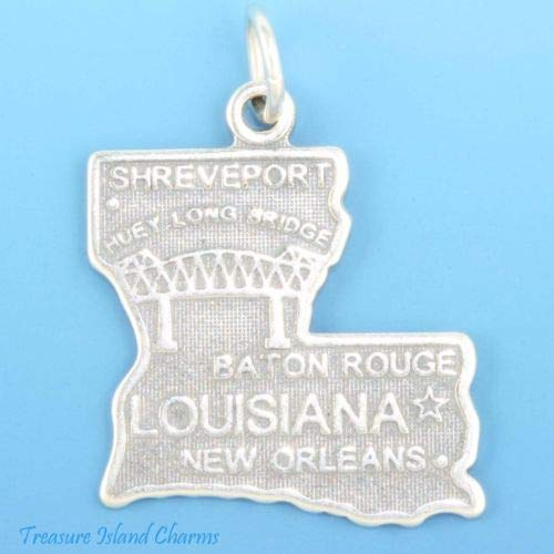 Louisiana State Map New Orleans Baton Rouge 925 Solid Sterling Silver Charm Crafting Key Chain Bracelet Necklace Jewelry Accessories Pendants ()