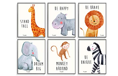 - Safari Baby Animals, Baby Nursery Decor, Baby Room Decor, Playroom Wall Art Decor Prints, Boys & Girls Room, Kids Bedroom Inspirational Quotes, Motivational Art, Inspirational Art. Set of 6 8x10in.