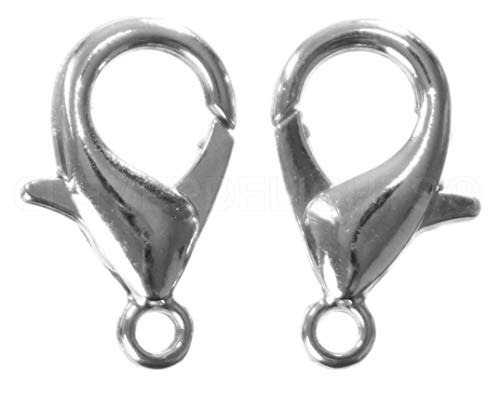 CleverDelights 100 Lobster Clasps - 12x6mm - Antique Silver (Platinum) Color - Jewelry Findings from CleverDelights