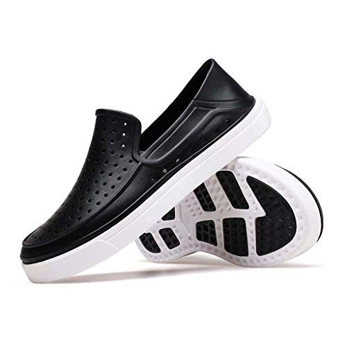 ZXCV Zapatos al aire libre El agujero puro del color de los hombres agujerea los zapatos perezosos ocasionales de los hombres respirables Negro