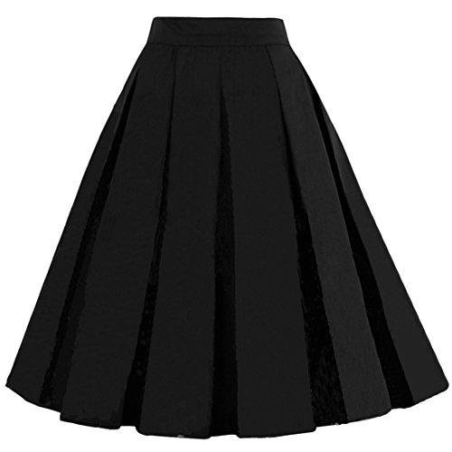 (Dressever Women's Vintage A-line Printed Pleated Flared Midi Skirts Black)