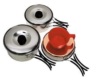 Fox Outdoor - Batería de cocina para camping (tamaño pequeño, acero inoxidable, 2 cazos, 1 sartén y 1 taza), color plateado