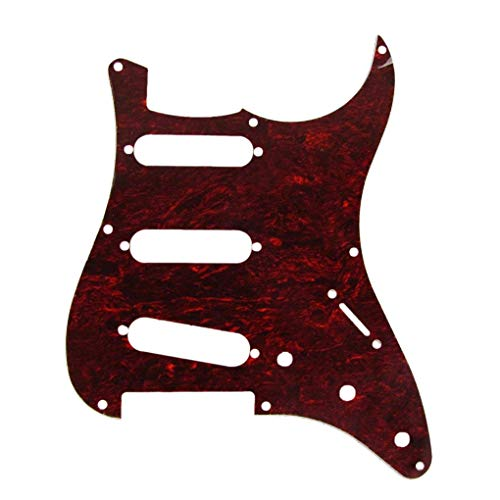 TOOGOO SSS 8 Hole Strat Vintage Electric Guitar Pickguard for Fender Style Vintage Strats Style Guitar Parts, With pure aluminum foil shielding, 4 Ply Red Tortoise, inc. Screws