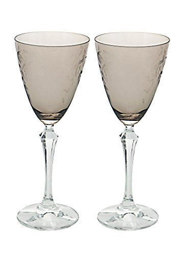 Pizzazz Set of 2 Drinking Glasses Stemware Brookside Pastels Amber Colored Goblets -Personalized Gifts for Her, Him, Birthday, Mom, Dad, Hostess, Housewarming, Best Friends, Graduation , Holidays