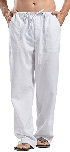 utcoco Qiuse Men's Casual Loose Fit Straight-Legs Stretchy Waist Beach Pants (X-Small, White) -