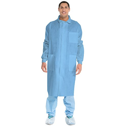 Kimberly Clark Universal Precautions Lab Coats (10045), Protective 3-Layer SMS Fabric, Back Vent, Unisex, Blue, Small, 25 / Case by Kimberly-Clark (Image #1)