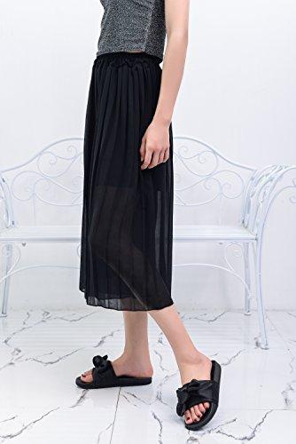 Slip Sandal Womens On Sandra Bow Decor Lady Black Slide Mila Fashion Silky BYxvwET1qZ