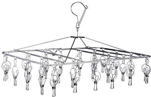 Pro Chef Kitchen Tools Stainless Steel Clothes Drying Rack - Folding Portable Metal Hanger is Collapsible to Save Space to Hang Dry Laundry or Organize Closets Includes 30 Wire Clothespins (Best Way To Organize Socks And Underwear)