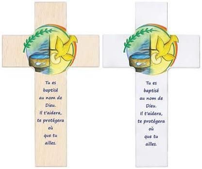 Croix en bois pour le bapt/ême avec une belle b/én/édiction blanc, 15cm