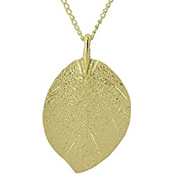 Feelontop Costume Jewelry Gold Color Alloy Leaf Design Pendant Necklace for Women with Jewelry Pouch