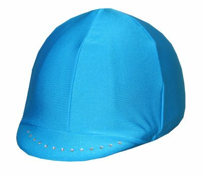 Equestrian Riding Helmet Cover - Turquoise with Swarovski Crystals