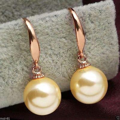 FidgetFidget South Sea Shell Pearl Rose Gold Plated Dangle Earrings12mm -