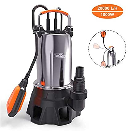 Submersible Pump, TACKLIFE 1000W Submersible Water Pump with Float Switch  for Domestic Waste Water(Max Flow 20000L/H, Max Submersion Depth 7M, Max