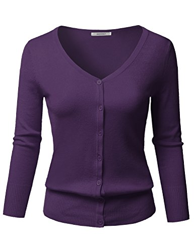 Solid Button Down V-Neck 3/4 Sleeves Knit Cardigan Grape Size S