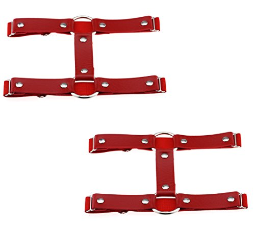 2pcs Punk Leather Garter Elastic Stud Leg Garter Belt (Red) ()