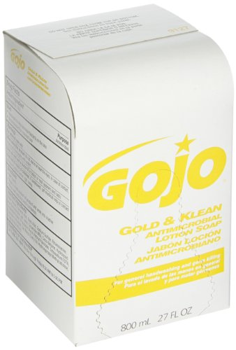 GOJO 800 Series Gold & Klean Antimicrobial Lotion Soap, 800 mL Lotion Soap Refill for GOJO Bag-in-Box Dispenser (Case of 12) - 9127-12 (Soap Luxury Box)