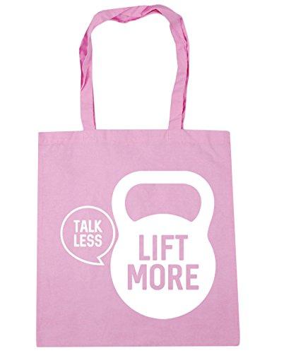 HippoWarehouse Talk less lift more Tote Compras Bolsa de playa 42cm x38cm, 10litros Classic Pink