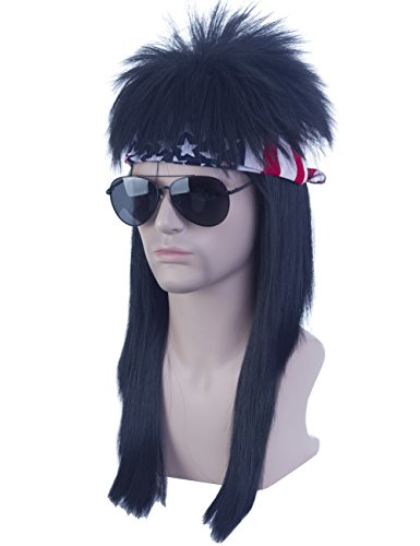Angelaicos Unisex Long Black Mullet Wig 70s 80s Vintage Retro Punk Disco Straight Hair Bandana