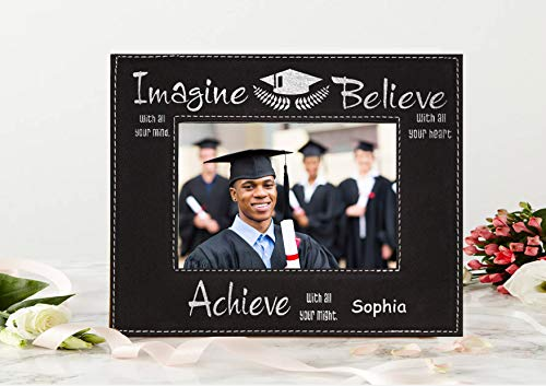Krezy Case Imagine Believe Achieve Leatherette Picture Frame, Customzied Leatherette Photo Frame, Personalized Graduation Gift, Grad Gift, Class of 2019 Gift, Size 8x10 Frame ()