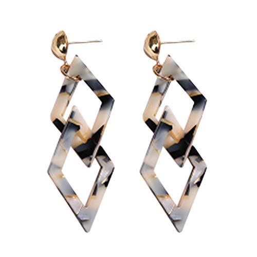 (Jocund Women Vintage Acrylic Geometric Double Quadrilateral Earrings Jewelry)